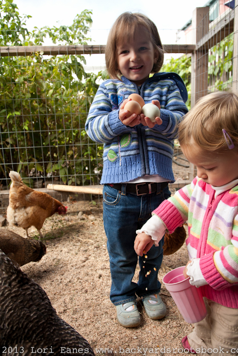 Two young girls feed the family chickens.