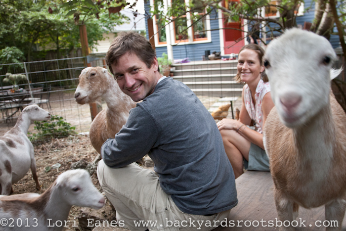 Tom And Didi With Their Backyard La Mancha Goats In Seattle.