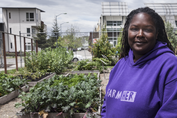 Kelly Carlisle in the Act Non Verba farm she founded in East Oakland.