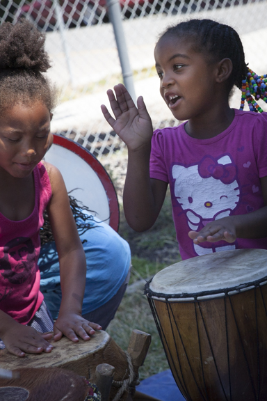 Singing and drumming are popular with the kids at Acta Non Verba summer camp.