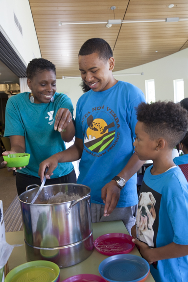 Kids get a homemade lunch that includes food they've help grow, like herbs in the pasta salad at Acta Non Verba.