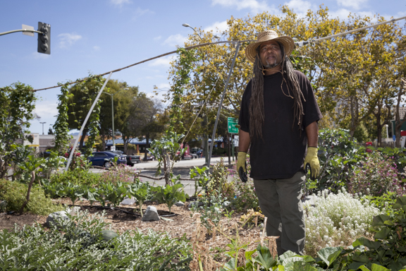 Donald Theard, 510.238.8946, volunteers at the People's Grocery garden at 7th and Market in West Oakland. He never grew vegetables before working this vacant lot. Before working here, he never grew vegetables. He's worked here one year.